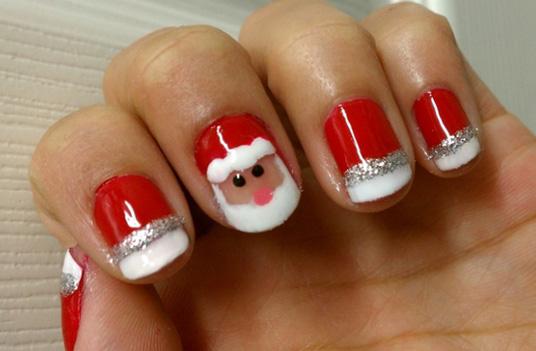 Nail art Père Noël pour les fêtes