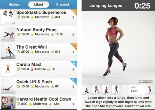 Les entraînements - appli mobile fitness